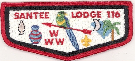 #116 Santee Lodge Flap S5b Old Ordeal With Plastic back 1978-1983 Issue - Scout Patch HQ