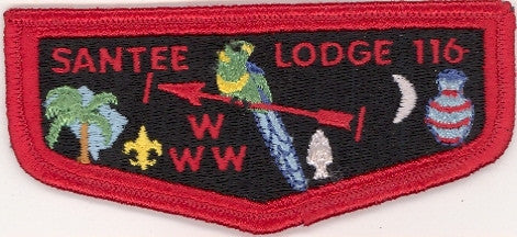 #116 Santee Lodge Flap S6a Old Brotherhood With White Plastic Back 1978-1983 Issue - Scout Patch HQ