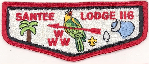 #116 Santee Lodge Flap S10 Burping Parakeet 1984-1995 Issue - Scout Patch HQ