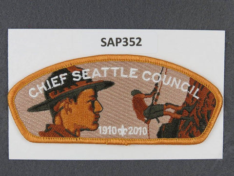 Chief Seattle Council CSP 2010 BSA Anniversary Gold Border - Scout Patch HQ