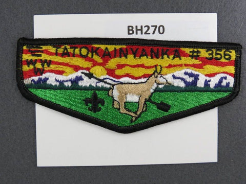 OA Lodge # 356 Tatokainyanka Black Border Flap Central Wyoming  [BH270]**