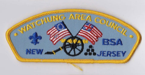 Watchung Area Council NJ Yellow Border Plastic Backing FDL CSP  ## CSP1333