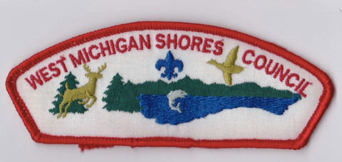 West Michigan Shores Council MI Red Border Plastic Backing FDL CSP  ## CSP1363