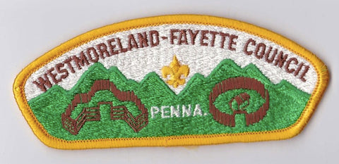 Westmoreland-Fayette Council PA Yellow Border Plastic Backing FDL CSP  ## CSP1366