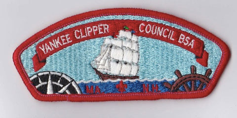 Yankee Clipper Council MA & NH Red Border Plastic Backing FDL CSP  ## CSP1379