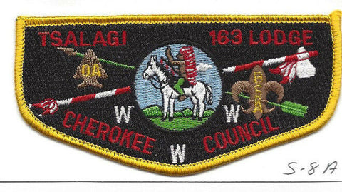 OA Lodge Tsalagi S8a Flap WHT Backstitch Cherokee Council Merged 1994 [Y762]