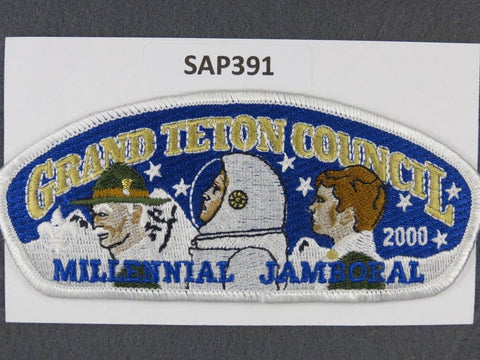 Grand Teton Council CSP 2000 Millenial Jamboral White Border - Scout Patch HQ