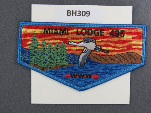 OA Lodge # 495 Miami Flap Blue Border Miami Valley  [BH309]**