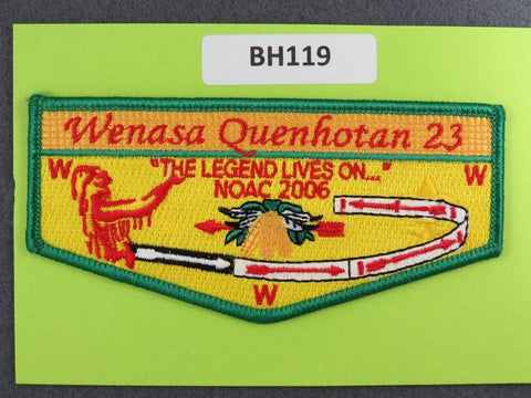 OA Lodge # 23 Wenasa Quenhotan 2006 NC Green Border Flap W. D. Boyce  [BH119]**