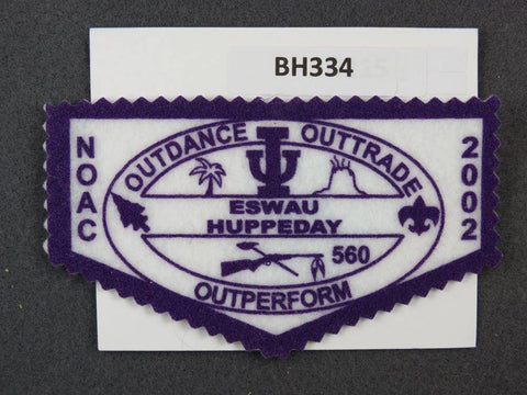 OA Lodge # 560 Eswau Huppeday Flap 2002 NC Purple Border Piedmont Area Council