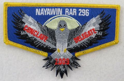 OA Lodge 296 Nayawin Rar S46 Flap 2009 Conclave Delegate; YEL border [D1399]