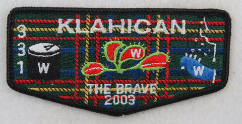 "OA Lodge 331 Klahican S51 Flap 2003 Conclave; ""THE BRAVE""; Plaid bkgd;  [D1497]"