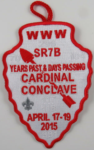 2015 Cardinal Conclave Red Border Patch issued 1 per person w/loop [T120]