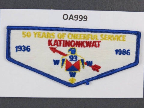 93 Katinonkwat Central Ohio  1986 50th Anniversary OA Flap [OA999]**
