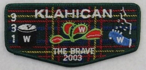 "OA Lodge 331 Klahican S52 2003 Conclave; ""THE BRAVE""; 120 mm [W10174]"
