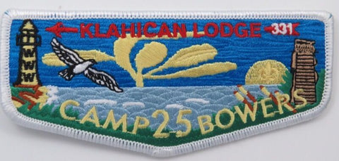 OA Lodge 331 Klahican S59 Flap; Camp Bowers 25th Anniversary [D1907]