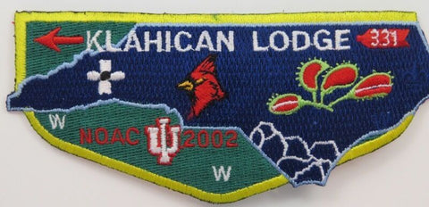 OA Lodge 331 Klahican S49 Flap; NOAC02; DBL state of NC; Trader [D1890]