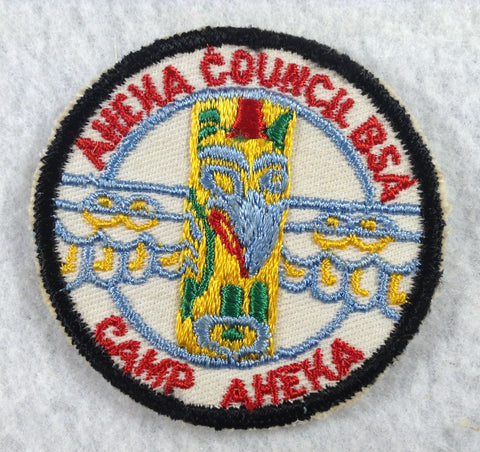 Camp Aheka Cut-edge Aheka Council Black Border Twill Patch