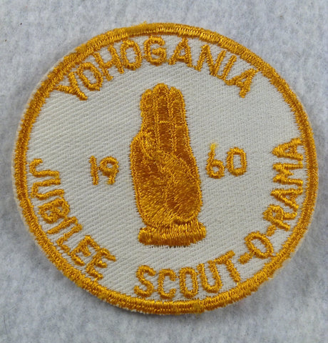1960 Yohogania Council Jubilee Scout-O-Rama Gold Cut-edge Border Twill Patch