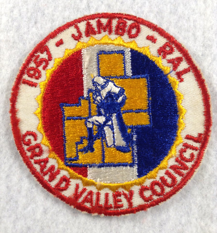 1957 Grand Valley  Jambo-Ral Cut-edge Red Border Patch [FLA161]