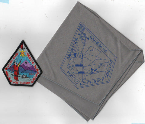 1990 Section SE-7 Old North State Neckerchief + PP Wahissa 118 Host Cardinal