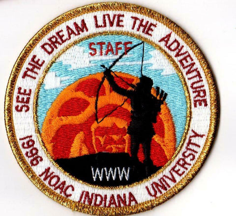 1996 NOAC ROUND POCKET PATCH STAFF NOAC GLD MAY BDR [SLV2508]