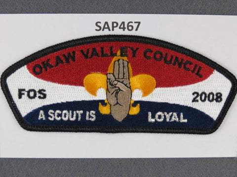 Okaw Valley Council CSP 2008 FOS Loyal Black Border - Scout Patch HQ