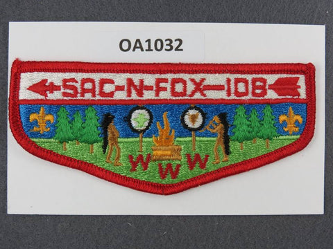 OA Lodge # 108 Sac-N-Fox Winnebago  S2 clothback  Flap [OA1032]**