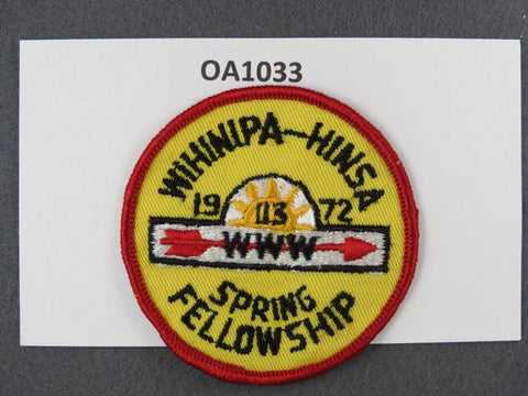OA Lodge # 113 Wihinipa Hinsa Bay Area Council 1972 Spring Fellowship  Patch
