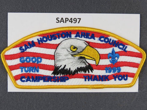 Sam Houston Area Council CSP 1999 Good Turn Campership Gold Border - Scout Patch HQ