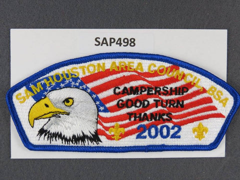 Sam Houston Area Council CSP 2002 Good Turn Campership Blue Border - Scout Patch HQ