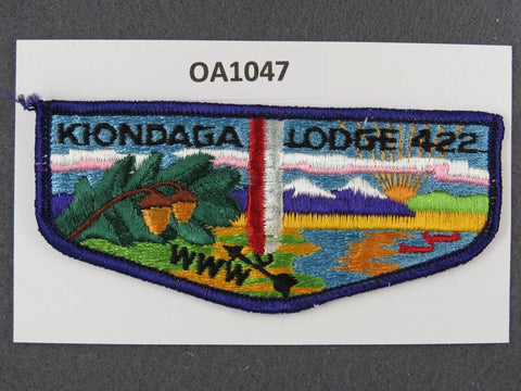OA Lodge # 422 Kiondaga Buffalo Trace  Purple Border S8 Clothback Pre-fdl  Flap [OA1047]**