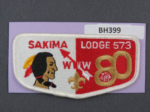 OA Lodge # 573 Sakima Flap 80th Anniversary White Border LaSalle Council