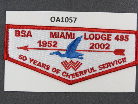 OA Lodge # 495 Miami  Miami Valley  Red Border 2005 50th Anniversary  Flap [OA1057]**