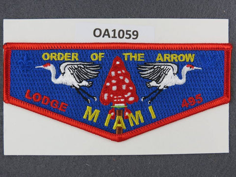 OA Lodge # 495 Miami  Miami Valley  Red Border Blue Bkrd.  Flap [OA1059]**