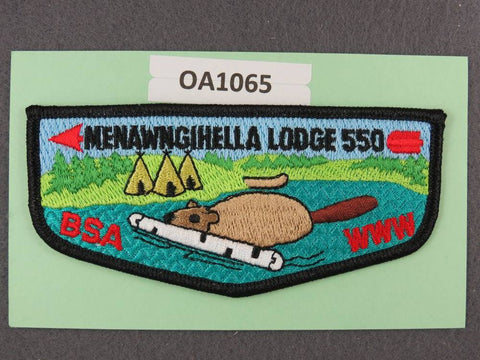 OA Lodge # 550 Menawngihella Mountaineer Area Council Black Border  Flap