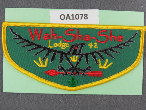 OA Lodge # 42 Wah-Sha-She Ozark Trails  Yellow Border  Flap [OA1078]**