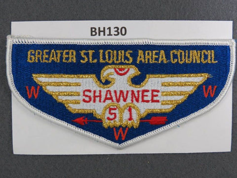 OA Lodge # 51 Shawnee Flap White Border Greater St. Louis Area Council