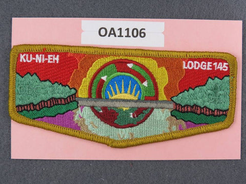 OA Lodge # 145 Ku-Ni-Eh Dan Beard Council Bronze Border  Flap