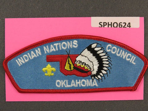 Indian Nations Council Oklahoma CSP Red Border - Scout Patch HQ