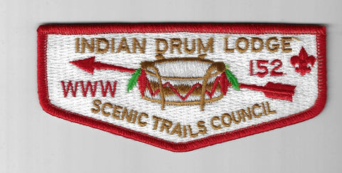 OA 152 Indian Drum S7 WWW BSA Flap RED Bdr. Scenic Trails Traverse City, MI [IND