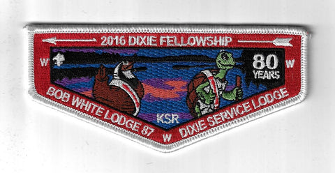 OA 87 Bob White 2016 Dixie Fellowship Flap WHT Bdr. Georgia-Carolina GA [NY-4299