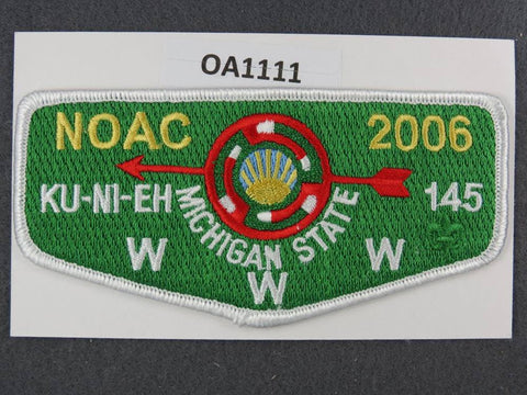 OA Lodge # 145 Ku-Ni-Eh Dan Beard Council 2006 NC Michigan State GRN Bgk  Flap