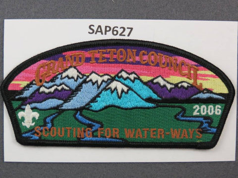 Grand Teton Council CSP 2006 Scouting for Water-Ways Black Border - Scout Patch HQ