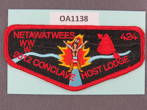 OA Lodge # 424 Netawatwees Muskingum Valley Council 2012 Conclave Host  Red Border  Flap