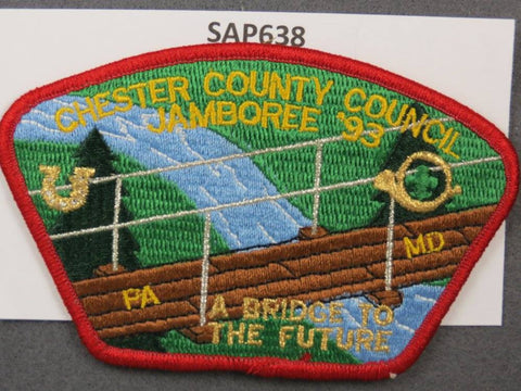 Chester County Council Pennsylvania Maryland CSP 1993 National Scout Jamboree Red Border - Scout Patch HQ