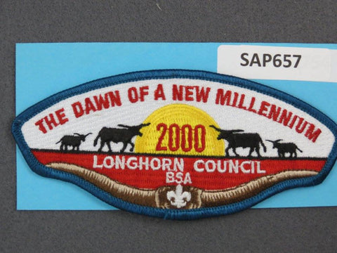 Longhorn Council CSP 2000 The Dawn of a New Millenium Blue Border - Scout Patch HQ