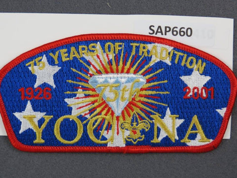 Yocona Council CSP 2001 75 Years of Tradition Red Border - Scout Patch HQ