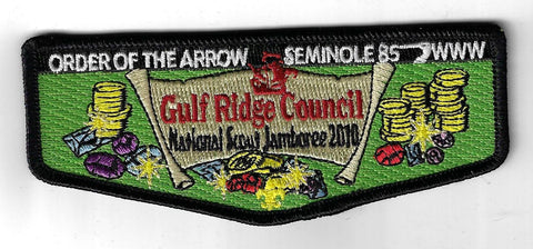 OA 85 Seminole 2010 National Scout Jamboree Flap BLK Bdr. Gulf Ridge FL [NY-1919