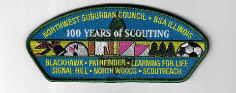 Northwest Suburban Council SAP S-21 Illinois 100 Yrs. Of Scouting GRN Bdr. (CSI